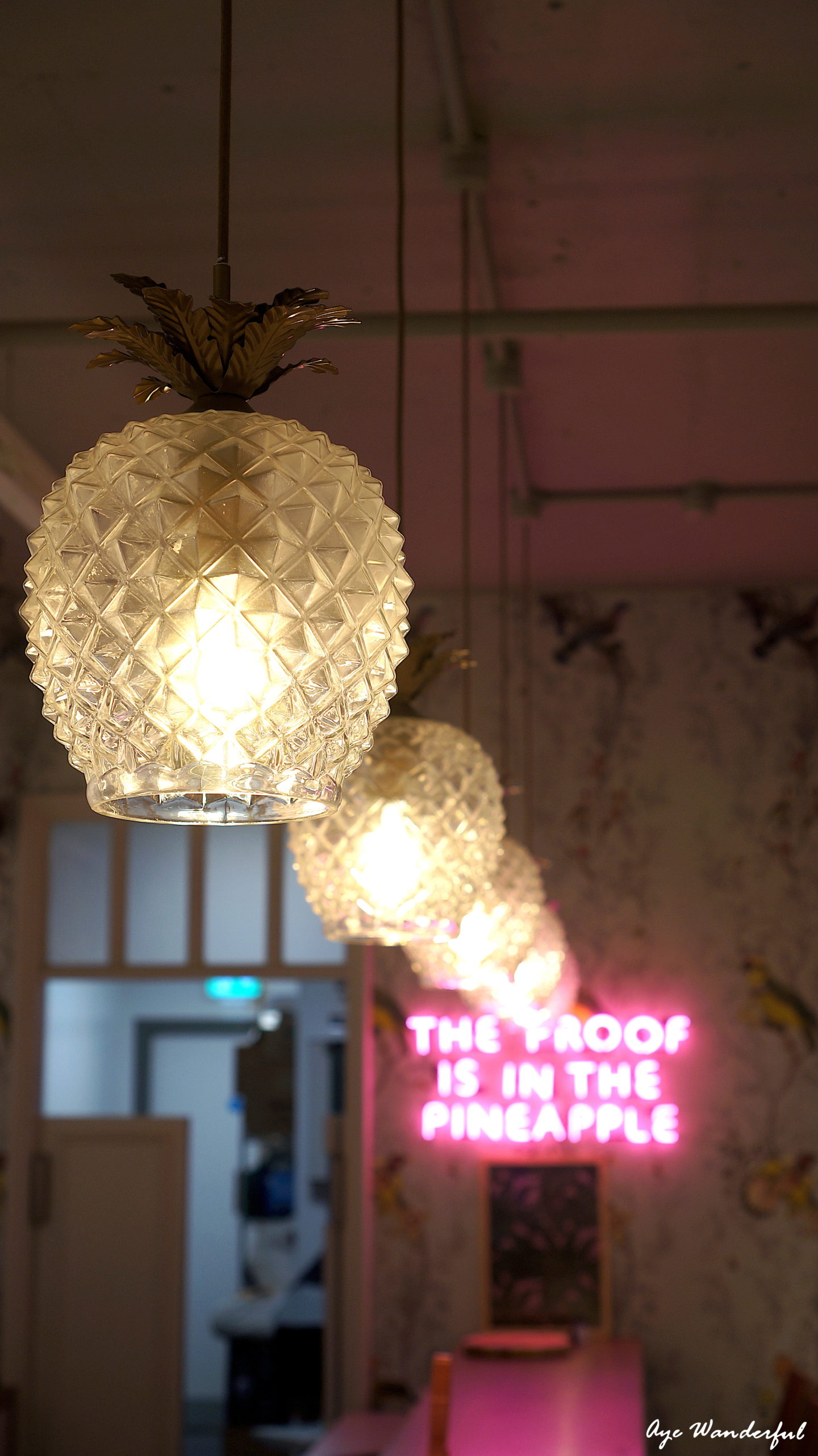 Pineapple Pendant lamp | Saucer & Spritz cafe | Oasis Tottenham Court Road London | Looks and Locations | Read more on www.ayewanderful.com