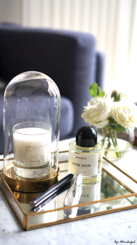 Byredo Rose Noir Perfume | Kiko Cosmetics Long lasting Eyeshadow stick | Kiko Cosmetics Arctic Holiday Volumising Mascara | The White Company Lime & Bay candle