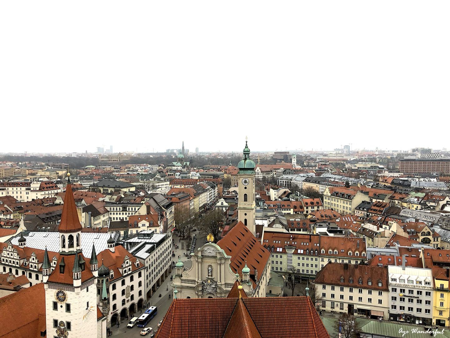 View of Munich Old Town from St Peter's Church